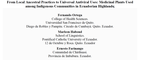 From Local Ancestral Practices to Universal Antiviral Uses: Medicinal Plants Used among Indigenous Communities in Ecuadorian Highlands